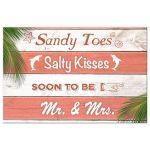 Coral & White Stripped Beach Sign Wedding Save the Date Postcard