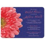 Coral gerbera daisy and navy blue lace bridal shower invitation front