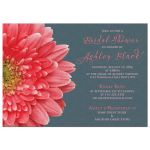 ​Coral gerbera daisy and charcoal gray lace bridal shower invitation front