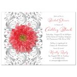 Coral gerbera daisy and gray floral bridal shower invitation