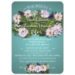 Floral Bouquet on Aqua Bridal Wedding Shower Invitation
