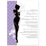 Great modern lilac purple, black, white and grey damask pattern baby shower invite with silhouette of a pregnant woman in high heels, sipping tea from a tea cup.