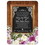 Rustic Spring Chalkboard Picture Frame Floral Wedding Invitation