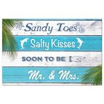 Aqua and White Striped Sandy Toes and Salty Kisses Save the Date