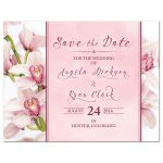 ​Elegant pink and burgundy orchid flower wedding save the date announcement front