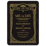​Black and gold roaring 20s Great Gatsby art deco wedding save the date announcement front