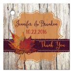Best personalized rustic orange and purple wood and burlap autumn leaves wedding favor tag with twine bow and customizable text.