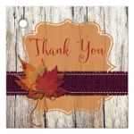 Best rustic orange and purple wood and burlap autumn leaves wedding favor thank you tag with twine bow.