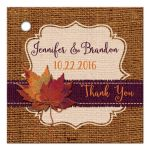 Best personalized rustic orange and purple burlap autumn leaves wedding favor tag with twine bow.