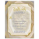 Unique agate geode geology wedding RSVP reply card in blush pink, champagne, gold, and grey front