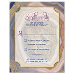 Unique agate geode geology wedding RSVP card in pink, royal blue, purple, blush, and gold front