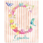 ​Great personalized art print with initial, name and striped watercolor pattern with watercolor flowers, leaves and butterflies.