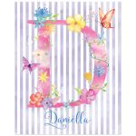 Best personalized art print with initial, name and striped watercolor pattern with watercolor flowers, leaves and butterflies.