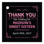 Pink Marquee Lights Sweet 16 Party Thank You Favor Tag