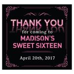 Pink Marquee Lights Sweet 16 Party Thank You Beverage Label