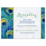 Watercolor peacock feather wedding reception card front
