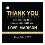 Marquee Lights Theatre Bat Mitzvah Thank You Favor Tag