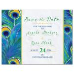 Watercolor peacock feather wedding save the date card front