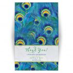 ​Watercolor peacock feather wedding thank you card