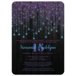 Best black, purple, pink, aqua teal blue, turquoise Quinceanera party invitation with streaming twinkle lights, fairy lights and star lights.