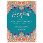 Pink+Teal Quinceanera Invitation | Crystal Gems Fractal Lace