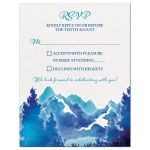 Royal blue and turquoise watercolor painting style mountain wedding RSVP reply card