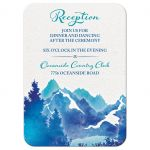 ​Royal blue and turquoise watercolor painting style mountain wedding reception card