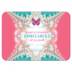 Pink Butterfly Quince RSVP Reply Card