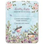 Woodland forest birds and butterflies watercolor wedding RSVP reply card