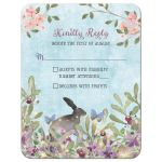 Woodland forest rabbit and butterflies watercolor wedding RSVP reply card