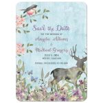 Woodland forest deer, bird and butterflies watercolor wedding save the date announcement
