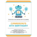 Robot themed birthday party invitation for boys with cute, retro robot.