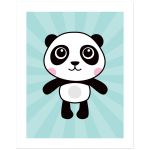 Cute panda on aqua blue sunburst background nursery wall art poster print for kids
