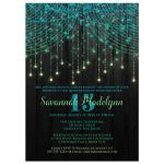 Great black, aqua, yellow, lime green, teal blue, turquoise Quinceanera party invitations with streaming twinkle lights, fairy lights and star lights.