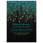 Best black, aqua, yellow, lime green, teal blue, turquoise Mis Quinc Anos Sweet 15 party invitate with streaming twinkle lights, fairy lights and star lights.