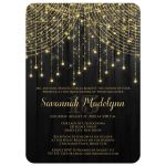 Great black and gold Quinceanera party invitations with streaming twinkle lights, fairy lights and star lights.