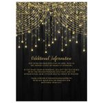 ​Best black and gold Mis Quince Anos party invites with streaming twinkle lights, fairy lights and star lights.