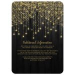Best black and gold Mis Quince Anos party invites with streaming twinkle lights, fairy lights and star lights.