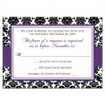 Best purple, black, and white damask pattern wedding response cards with ribbon, bow and jeweled joined glitter hearts on it.
