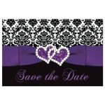 Great purple, black, and white damask pattern wedding save the date postcards with ribbon, bow and jewelled joined glitter hearts on it.