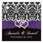 Great personalized purple, black, and white damask pattern wedding favor thank you tag with ribbon, bow and jewelled joined glitter hearts on it.