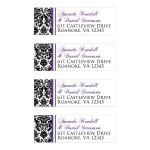 Great personalized purple, black, and white damask pattern wedding return address mailing labels.