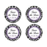 "Best 2"" round personalized purple, black, and white damask pattern wedding save the date sticker."