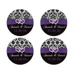 Best personalized purple, black, and white damask pattern wedding favor sticker or envelope seal with ribbon, bow and jewelled joined glitter hearts on it.