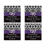 Great personalized purple, black, and white damask pattern wedding favor stickers with ribbon, bow and jewelled joined glitter hearts on it.