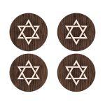 Star of David on rustic wood round Bat Mitzvah envelope seal stickers