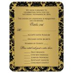 Best black and gold baroque wedding or 50th anniversary re rsvp enclosure cards.