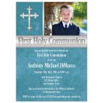 Great teal blue ​First Holy Communion invitations with photo template and intricate silver Cross for a boy.