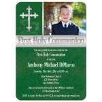 Great green First Holy Communion invitations with photo template and intricate silver Cross for a boy.