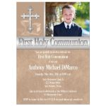 Great taupe brown First Holy Communion invitations with photo template and intricate silver Cross for a boy.